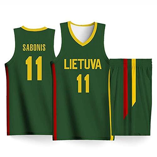 YB-DD Basketball-WM der Männer 2019 - Litauen Basketballanzug - # 11 Domantas Sabonis-Trikot, zweiteiliges Tanktop + Shorts Basketball-Set,XS:165cm/45~55kg