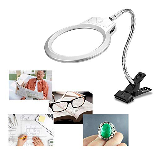 5D Diamond Painting Magnifying Tools, 4X & 6X Magnifier LED Light with Clip and Flexible Neck, 5D Diamond Painting and Cross Stitch Tool Accessory Magnifier Lamp