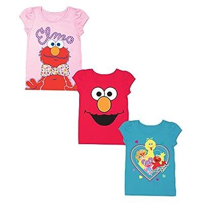 Sesame Street Baby Girls' Toddler 3 Pack Puff Sleeve Tee Bundle