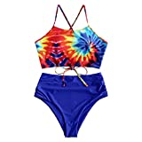 ZAFUL Women's Leaf Print Lace Up Ruched High Waisted Tankini Set Swimsuit (Colorful, XL)