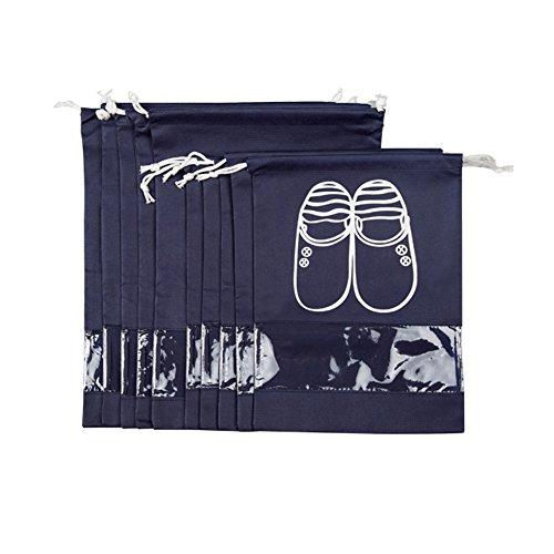 aveson 10 Stück tragbar Staubdicht Atmungsaktiv Travel Schuh Organizer Taschen für Stiefel, High Heel -Kordelzug, transparentes Fenster, platzsparende Aufbewahrung Taschen, 5 große + 5 Medium Größe,