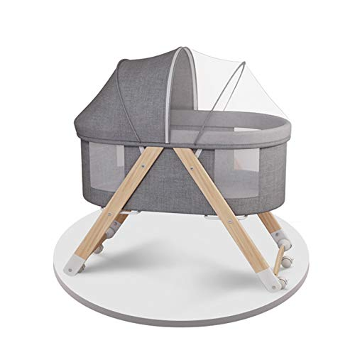 Baby Crib, Portable Movable Baby Bed, Multifunctional Newborn Stitching Big Bed, Foldable Newborn Solid Wood Cradle Bed with Universal Wheel and Mosquito Net