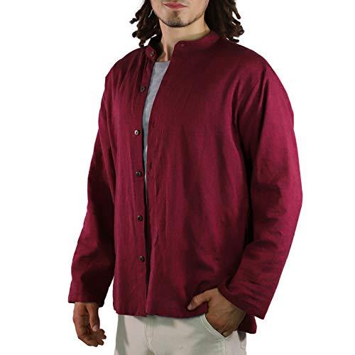 KUNST UND MAGIE Herren Hemd unifarben Fischerhemd Freizeithemd, Größe:3XL, Farbe:Bordeaux