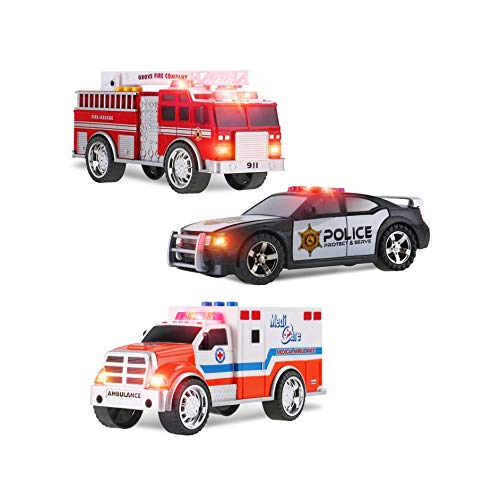 3-in-1 Emergency Vehicle Kids Toys, Fire Truck, Police Car and Ambulance Toy Kids Playset with Emergency Light and Rescue Sirens, Fire and Rescue Vehicle Toys for Boys
