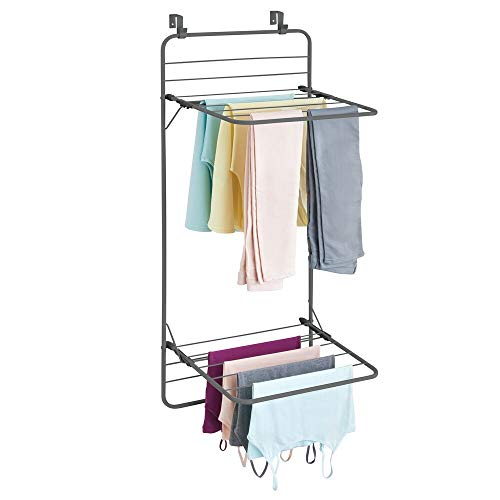 mDesign Over Door Foldable Laundry Drying Rack  Compact Portable and Collapsible for Storage  Double Shelf  Graphite Gray