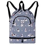 HAWEE Dry Wet Drawstring Backpack with Shoe Compartment for Women...