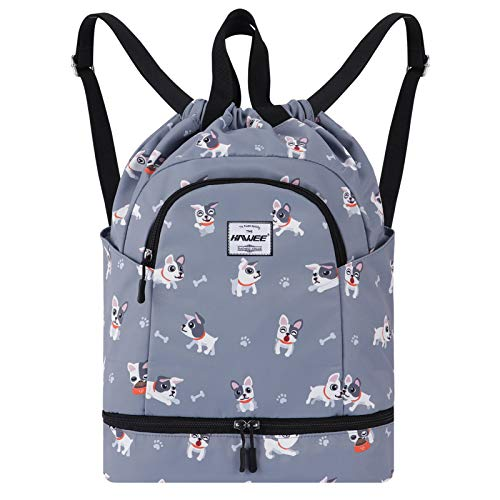 HAWEE Dry Wet Drawstring Backpack with Shoe Compartment for Women and Girls Waterproof Yoga String Bag Outdoor Sports Rucksack for Gym/Beach/Swim Pool, Grey Dog