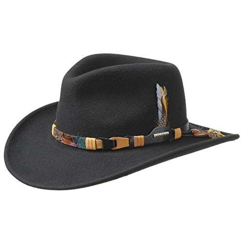 Stetson Chapeau Kingsley VitaFelt Plumes d´Indien Faire du Cheval facon Western (L (58-59 cm) - Noir)