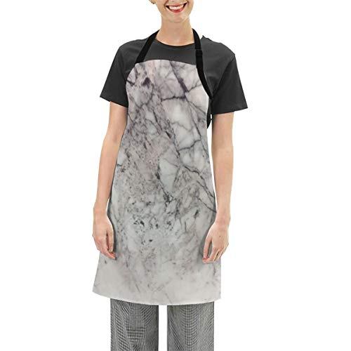 Lisang Women Kitchen Apron,Marble Tiles Texture Wall Marble Background Bib Apron Waterdrop Cooking Kitchen Apron Chef Couple BBQ Painting