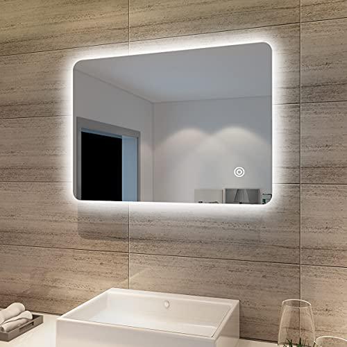 SONNI Specchio da Bagno Illuminato a LED, Specchio da Parete da Bagno 70 x 50cm Moderno, Bianco Freddo Impermeabile IP44 a Risparmio Energetico