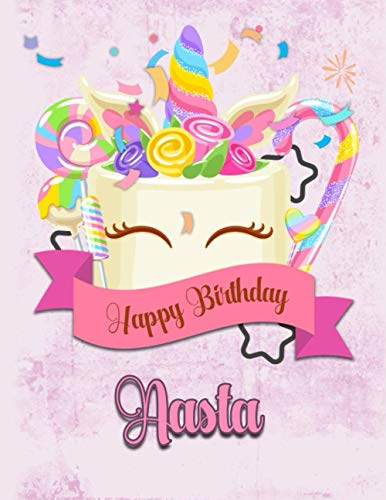 Happy Birthday Aasta: Personalized Dabbing Unicorn Sketchbook & Notebook with pink name   Best Birthday Gift for Aasta  8.5x11 Size & 100 Sketchbook pages + 50 Wide Ruled Composition Notebook pages