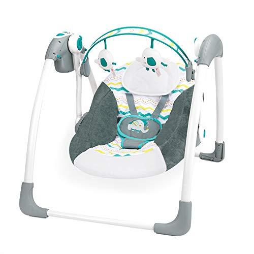 Feemom多機能電動スイングベビーバウンサーベビーゆりかごマフラー付き折り畳み音楽リクライニング機能付きトイ五点式安全ベルト持ち運びしやすい0-10ヶ月(紺碧)