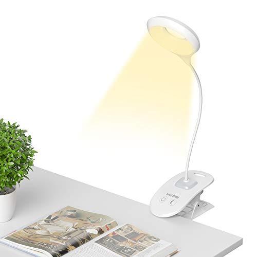 HOTERB Leselampe Buch Klemme,Buchlampe Klemmleuchte 22 LED Klemmlampen mit Nachtlicht USB Wiederaufladbar,Leselicht 3 Helligkeit Flexibel Schreibtischlampe für Nacht Lesen,Büro,Buch, Bett