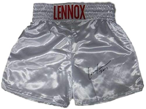 Lennox Lewis Autographed/Signed White Boxing Trunks JSA 14666 - Autographed Boxing Robes and Trunks