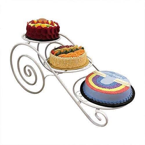 Taorong 3-Tier-Kuchen-Standplatz-Eisen-Treat Kreative Hochzeit Geburtstagstorte Anzeigen-Regal Mehrschichtige Gebäcknachtisch Platters Server Kuchen Inhaber Stehen (Color : White)