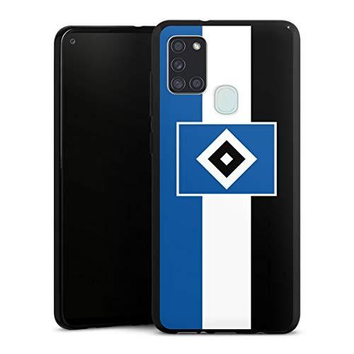 DeinDesign Silikon Hülle kompatibel mit Samsung Galaxy A21s Case schwarz Handyhülle HSV Streifen Hamburger SV