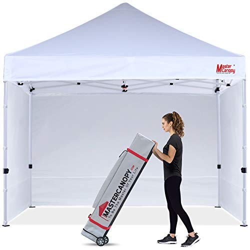 MASTERCANOPY Ez Pop-up Canopy Tent 10x10 Commercial Instant Canopies with 4 Removable Side Walls and Roller Bag, Bonus 4 SandBags(10x10ft,White)