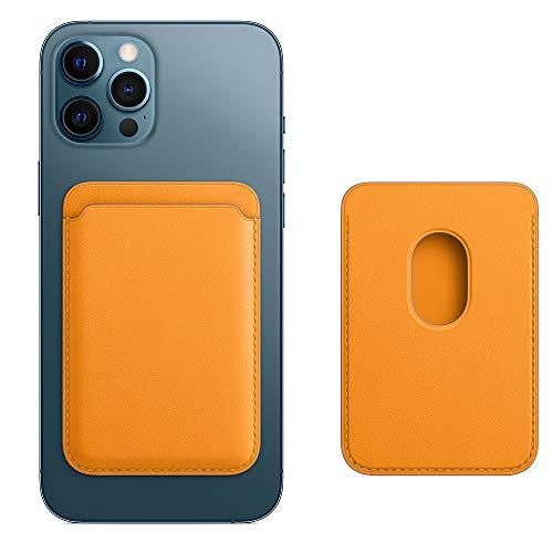 Cartera de Piel con MagSafe para el iPhone 12 Mini/Pro/Max,Tarjetero RFID con imán MagSafe, 2 Tarjetas Como Máximo(Amapola de California)