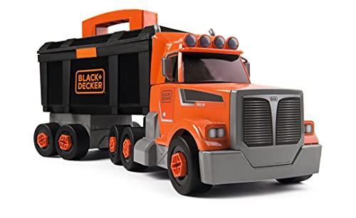 Smoby - BLACK+DECKER - Camion Bricolo 2 en 1 - Jouet Bricolage Enfant - Transportable - 60 Accessoires - 360175