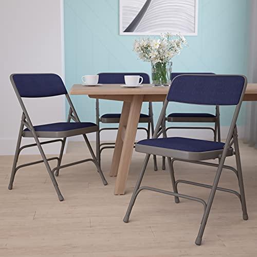 4Unidades Beige Tela Plegable sillas, Estructura metálica, Navy Fabric/Gray Frame, 4 Unidades