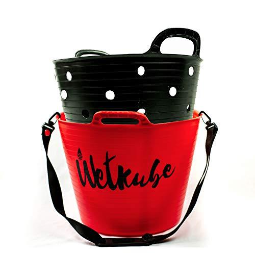 WETKUBE Cubo para Cambiarse, Secar, Transportar y Guardar el Traje de Neopreno, Ideal para el Mundo del Surf, Buceo, Sup, Windsurf, Padel Surf (Tamaño L - 25 litros, Rojo)