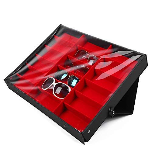 Nannday Sonnenbrillen Aufbewahrungsbox, 18 Gitter Sonnenbrillen Aufbewahrungsbox Organizer Brille Vitrine Standhalter Brillen