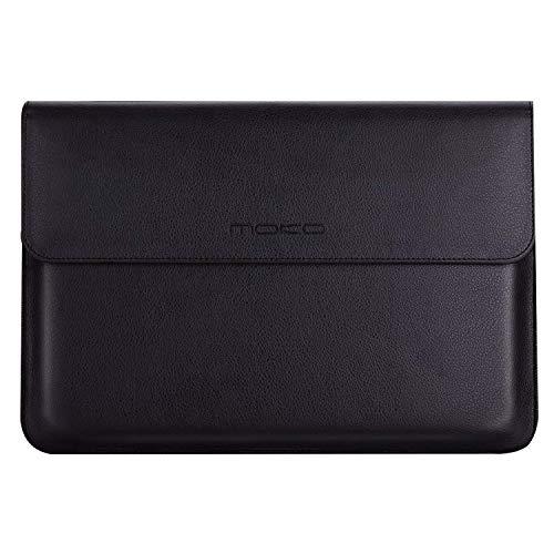 MoKo MacBook Air/Pro 13.3 Zoll Laptop Hülle - PU Leder Tasche Schutzhülle Lederhülle Wallet Hülle Leather Sleeve Aktentasche mit Karten-Slot für MacBook Air/MacBook Pro 13.3 Zoll, Schwarz