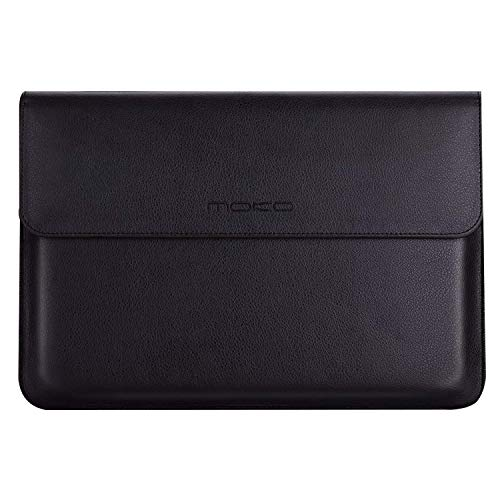 MoKo MacBook Air/MacBook Pro Funda - Sleeve Bag Maletín de Cuero Imitado Cover Case para Apple MacBook Air/MacBook Pro 13 Pulgadas Loptop ect. con Card Slot, Bolsillo y Fieltro, Negro