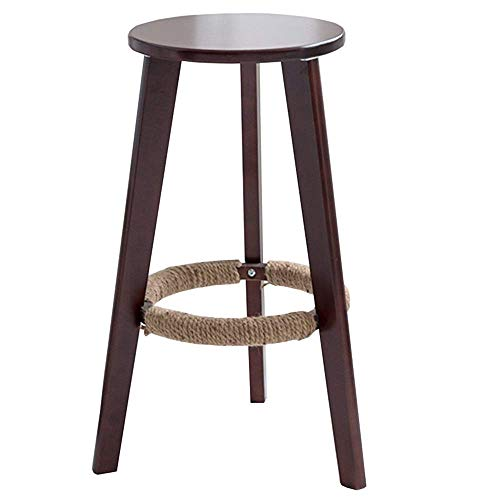 Bureaustoel, kruk, hoog, massief hout, keuken, bar, ronde zitting, ligbed, eenvoudig, modern, model hennep, hoogte 58/68/78 cm (kleur: notenhout, maat: 68 cm) 78cm Walnoot kleur