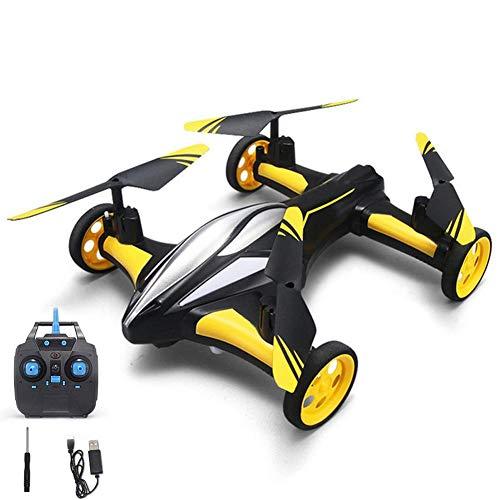 YFQH Drone,Aviones De Control Remoto De Cuatro Ejes, Aviones Terrestres Y Aéreos, Modo Doble con Retorno De Un Botón, Adecuados para Juguetes De Niños-Amarillo,aerialversion