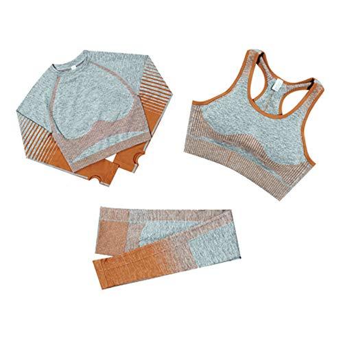 Fesjoy Conjunto de ropa deportiva de manga larga para mujer, 3 piezas, pantalones y barra de entrenamiento, pantalones deportivos, leggings, pantalones de yoga, con agujero para el pulgar