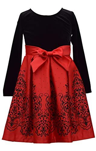 Bonnie Jean Girls Christmas Red Long Sleeved Velvet Satin Dress, 4T