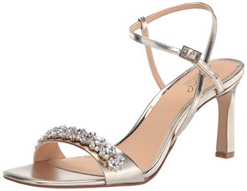 Jewel Badgley Mischka Women's Ornamented Sandal Heeled, GOLD METALLIC, 7