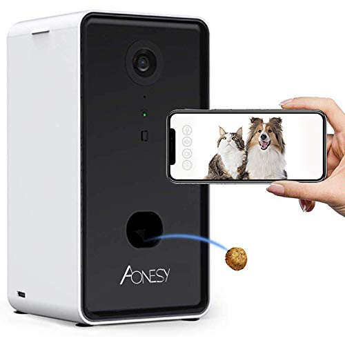 AONESY Dog Camera, WiFi Smart Pet Camera with Treat Dispenser for Dogs and Cats, Night Vision, 2-Way Audio, Compatible with Alexa