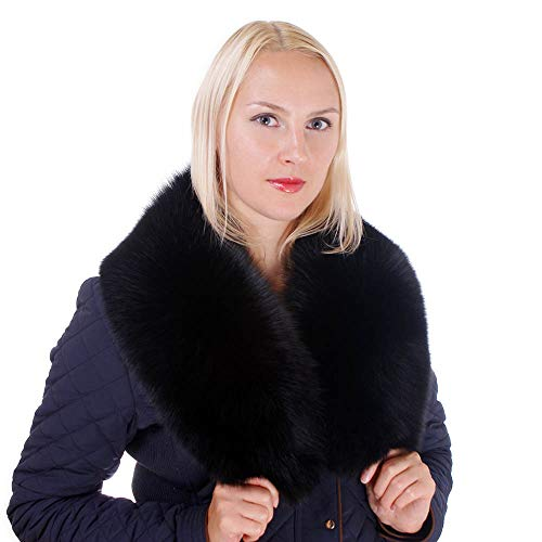 FOX FASHION Pelzkragen aus Schwarz Fuchsfell Echtfell Kragen Pelz Stola Fellkragen Fuchs Fell Echtpelz Fuchskragen Winter