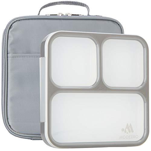 Caja de Almuerzo Bento - 3 Compartimientos a prueba de fuga de control de porciones - Incluye bolsa de almuerzo a juego con aislamiento para adulto – Contenedor de caja de almuerzo ultra delgado