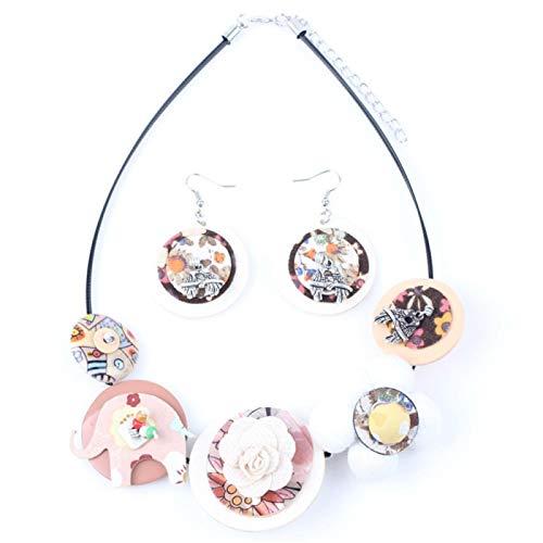 Stool Pendientes del Collar De La Flor De La Tela Sistemas De La Joyería Joyería Gargantilla Collar De Moda For Las Mujeres Noticias Kansa (Color : Brown)