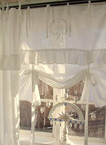 LillaBelle Raff Gardine Lara Offwhite 120x120 cm Volant Bestickt Landhaus Vintage Shabby