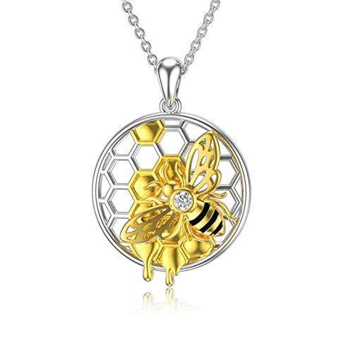 ROMANTICWORK abeille collier en argent sterling abeille cadeaux pour les femmes nid d'abeille miel bourdon pendentif collier bijoux anniversaire cadeaux de Noël pour maman femme filles