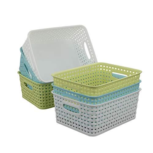 Qsbon Plastic Storage Baskets  Bins Organizer for Bathroom 6-Pack