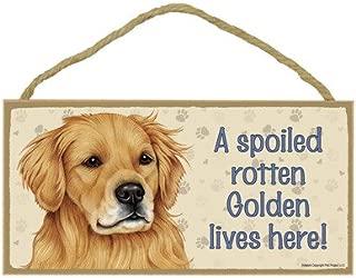 SJT ENTERPRISES, INC. A Spoiled Rotten Golden Retriever Lives here Wood Sign Plaque 5