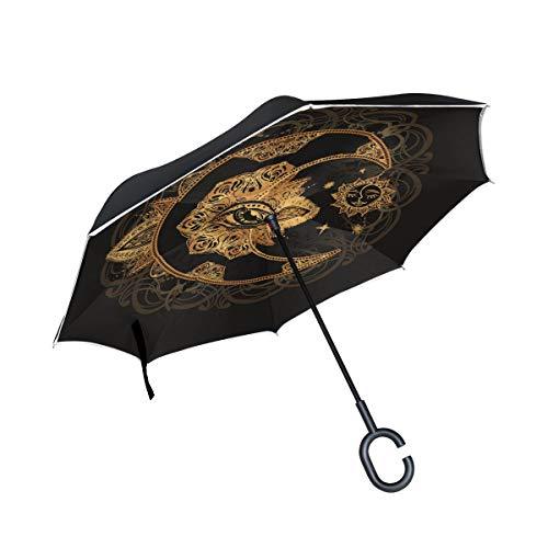 Boho-Chic Tattoo-Mandala-Doppelschichtiger umgekehrter Regenschirm Auto Regenschirm Wasserdicht Winddicht Groß Gerader Polyester Regenschirm für Sonne und Regen Outdoor mit C-förmigem Griff