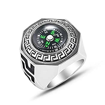 JOYID Real Compass Ring Stainless Steel Outdoor Tool for Camping Climbing Lover Women Men Jewelry-Size 9