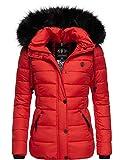 Navahoo Damen Winterjacke Steppjacke mit abnehmbarem Kunstfell Zuckerbiene Rot Gr. S