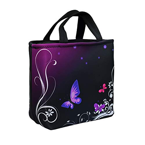 Lunch Bags For Women, Insulated Lunch Box, Neoprene Freezable Lunch Bag for Adult Large Cute Cooler Tote Reusable Lunch Pail Holder Leakproof with Zipper Office Picnic Outdoor ,Purple Butterfly