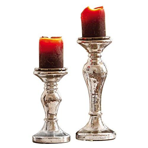 Loberon Kerzenständer 2er Set Pauline, Weihnachtsdeko, Glas, antiksilber