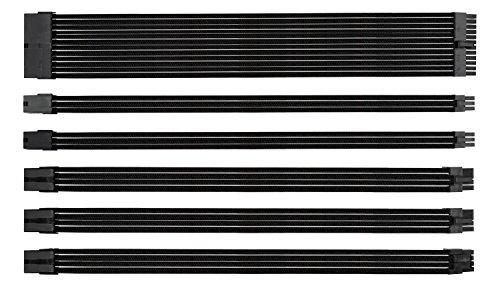 EZDIY-FAB Sleeved Cable - Kabelverlängerung für Stromversorgung mit Combs 24 Pin 8PIN 6PIN 4 + 4 Pin mit Combs- Schwarz