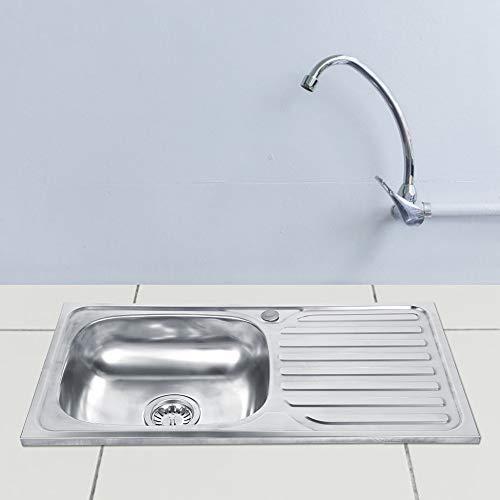 Edelstahlspüle Edelstahl Einbauspüle Reversible Waschbecken Single Bowl Küchenspüle mit Ablage Spüle für Home Restaurant