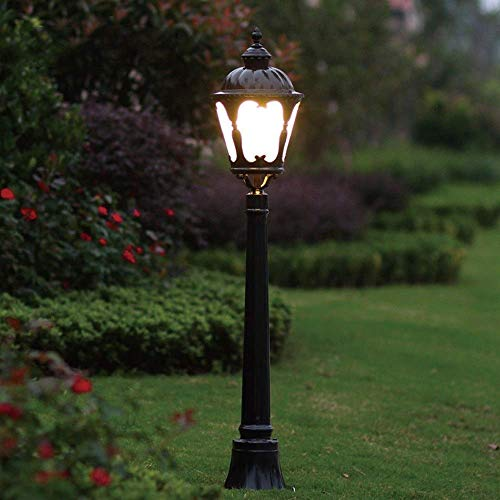 Linterna de Poste de Pilar Alto de 1,16 m Iluminación de Mesa de Patio Retro Victoriano E27 Lámpara de jardín al Aire Libre Impermeable Antióxido de Aluminio Fundido a presión Deck Pier Lawn