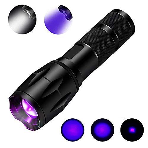UV-Taschenlampe Schwarzlicht 395nm UV-Licht Cat Dog Pet Urinfleckendetektor Zoomable UV-Lampe für Haustiere & 550 Lumen Weißlicht 2 in 1